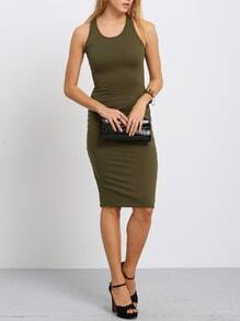 Army Green Sleeveless Sheath Midi Dress