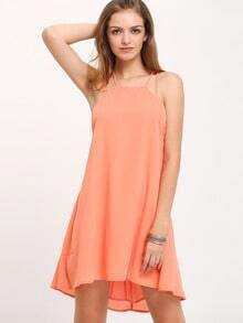 Orange Criss Cross Backless Spaghetti Strap Dress