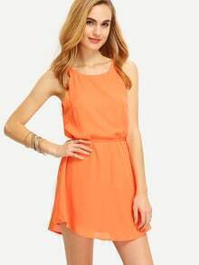Orange Scallop Lace Up Back Spaghetti Strap Dress