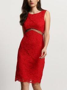 Bright Red See-through Insert Zipper Back Lace Dress