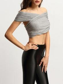 Grey Pleated Cross Convertible Crop T-shirt