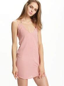 Pink Lace Up Back Spaghetti Strap Beach Dress