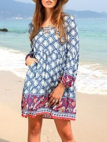 Blue Pockets Vintage Print Beach Shift Dress
