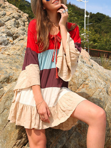 Patchwork Bell Sleeve Tie Neck Beach Dress