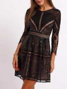 Black Crew Neck Hollow Lace Dress