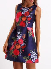 Multicolor Crew Neck Sleeveless Floral Flare Dress