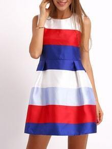 Multicolor Crew Neck Striped Flare Dress
