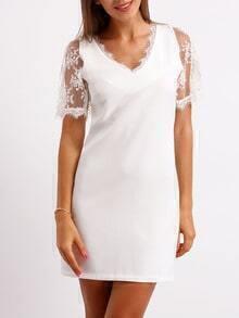 White V Neck Lace Straight Dress