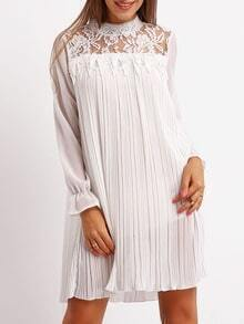 White Stand Collar Lace Pleated Dress