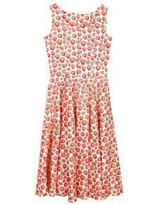Red Boat Neck Strawberry Print Flare Dress