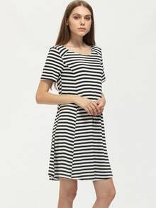 Black White Crew Neck Striped Loose Dress
