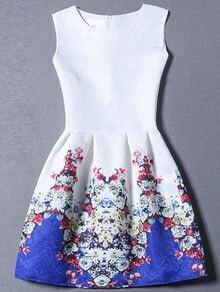 Colour Sleeveless Graffiti Print Jacquard Dress