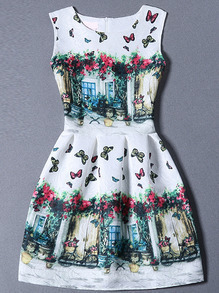 Multicolor Sleeveless Butterfly Print A Line Dress