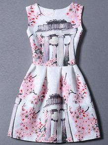 Pink Sleeveless Floral A Line Dress