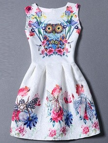 Multicolor Sleeveless Owl Print Flare Dress