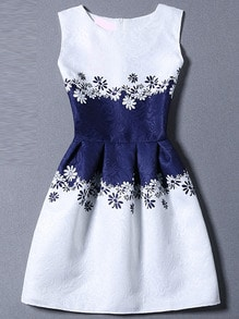 Blue White Sleeveless Floral A Line Dress