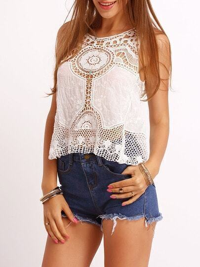 White Crew Neck Lace Tank Top