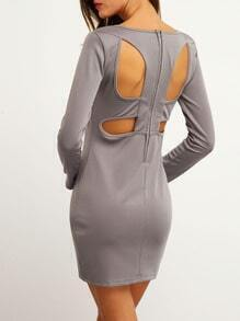 Grey V Neck Hollow Back Bodycon Dress