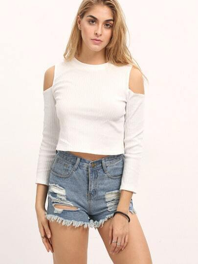 White Cold Shoulder Rib Crop Knitwear