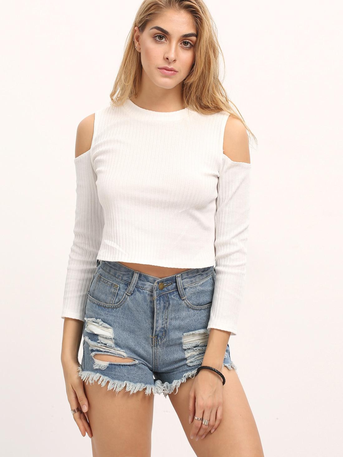 White Cold Shoulder Rib Crop Knitwear tee160308150