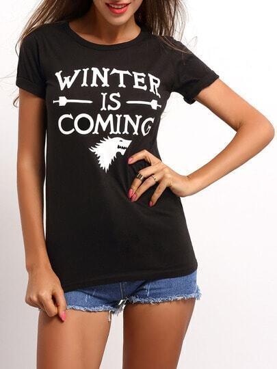 Camiseta manga corta letras -negro