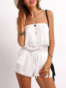 White Strapless Ruffle Drawstring Jumpsuit