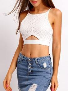 White Lace Triangle Hollow Cami Top