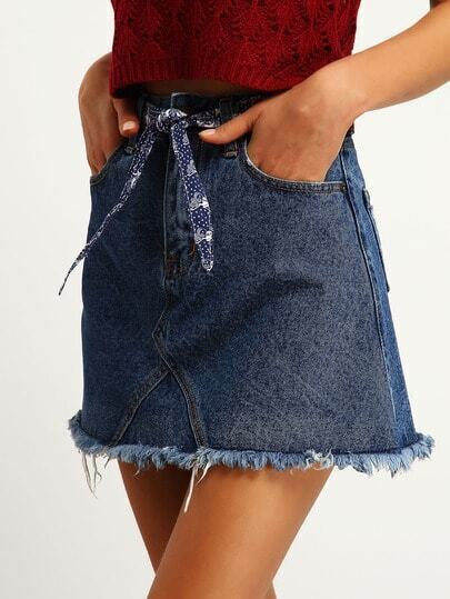 Blue Fringe A Line Denim Skirt