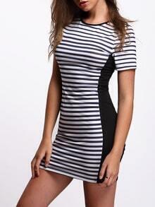 Dark Blue Stripe Contrast Black Sheath Dress
