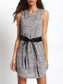 Grey Sleeveless Shift Dress With Belt