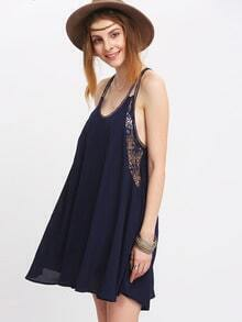 Dark Blue Lace Splicing Spaghetti Strap Swing Dress