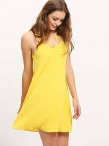 Yellow Backless Spaghetti Strap Dress