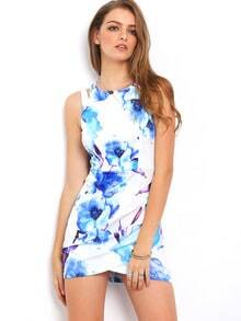 Blue Floral Print Contrast Cut Cut Wrap Dress