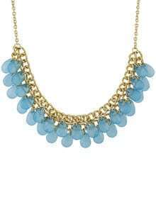 Blue Multilayers Bib Bead Necklace