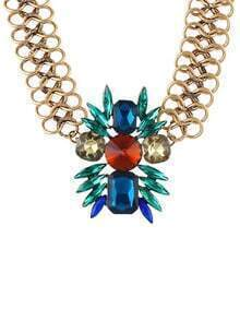 Colored Rhinestone Pendant Necklace