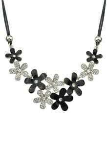 Silver Rhinestone Flower Necklace