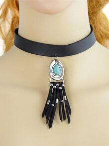 Silver Tassel Choker Necklace