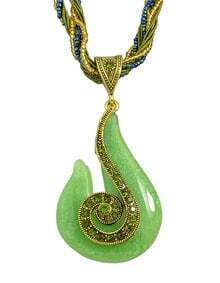 Green Beads Chain Pendant Necklace