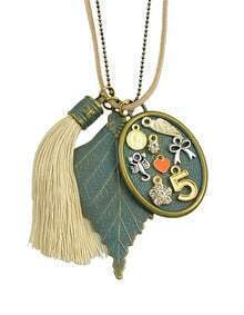 Tassel Leaf Long Pendant Necklace