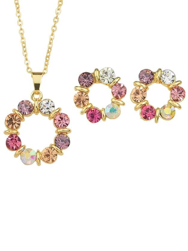 Фото Rhinestone Flower Pendant Jewerly sets. Купить с доставкой