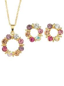 Parure de bijoux motif fleuri avec strass