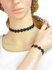 Black lace Flower Choker Jewelry sets