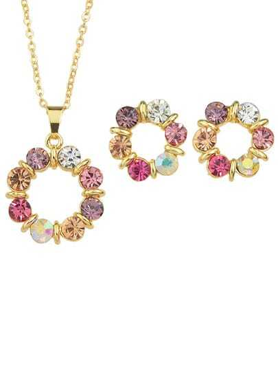 Rhinestone Flower Pendant Jewerly sets