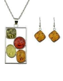 Colorful Amber Pendant Jewelry sets