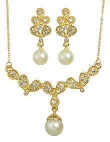 Gold Rhinestone Pearl Jewelry sets