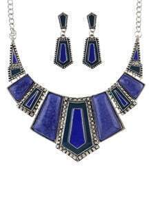 Blue Geometric Maxi Jewelry Set