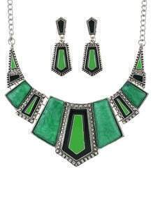 Green Geometric Maxi Jewelry Set