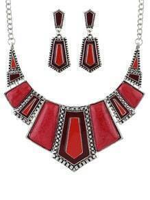 Red Geometric Maxi Jewelry Set