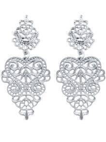 Silver Hollow Out Flower Earrings