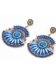 Blue Beaded Boho Earrings
